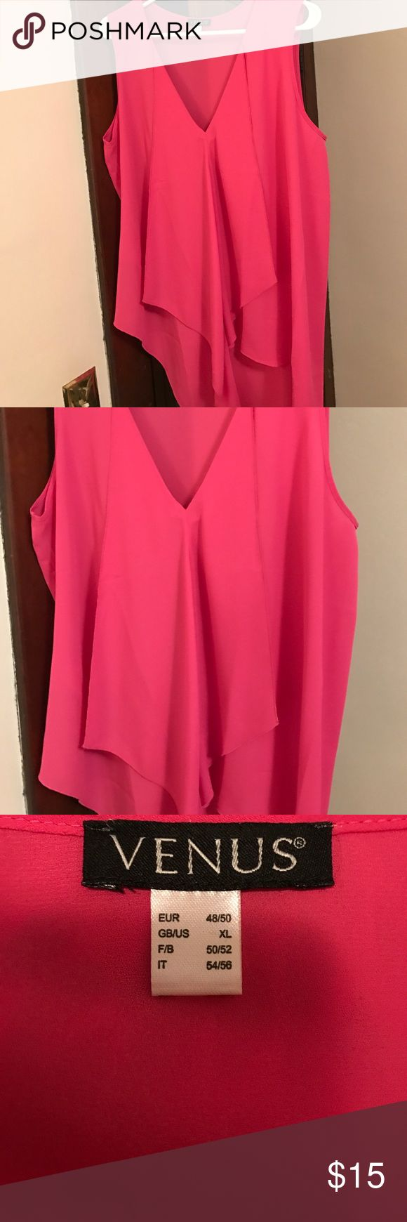 Pink sleeveless ruffle front blouse Never been worn. Bright pink, v-neck, sleeveless blouse. Draping/layers on front. Kind of an asymmetrical hem. It is so pretty and flowy- would look great with skinny jeans or leggings and heels, with a jacket, or tucked into a skirt. Size XL- from Venus. venus Tops Blouses