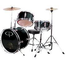 GP Percussion Complete 3-Piece Junior Drum Set - Black