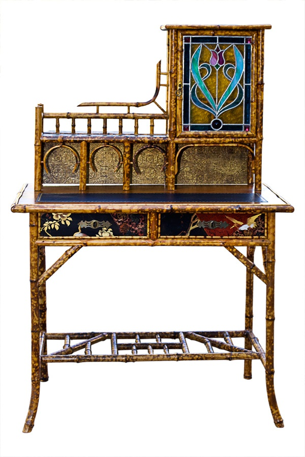 Antique Victorian Scorched Bamboo Writing Desk with Stain glass Door. English 1880's