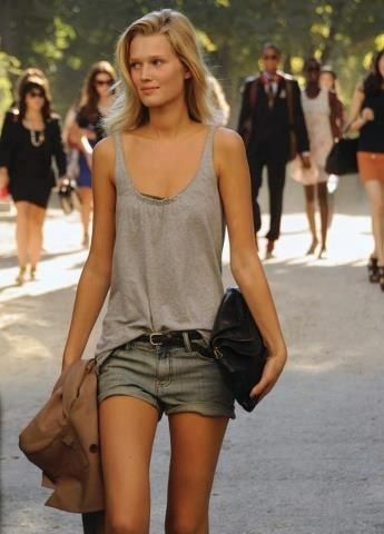 Grey tank top without a layer on top and denim shorts. See the things you should not wear to the office >>> http://justbestylish.com/10-things-you-shouldnt-wear-to-the-office-in-summer/