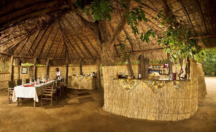 Dining and bar area of Island Bush Camp.