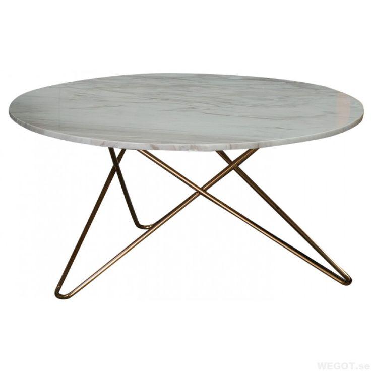 Topp - runt marmor soffbord med mässing underrede Ø: 80cm