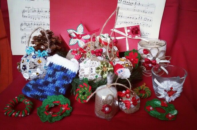 Christmas decorations available in Rocreanique Etsy shop