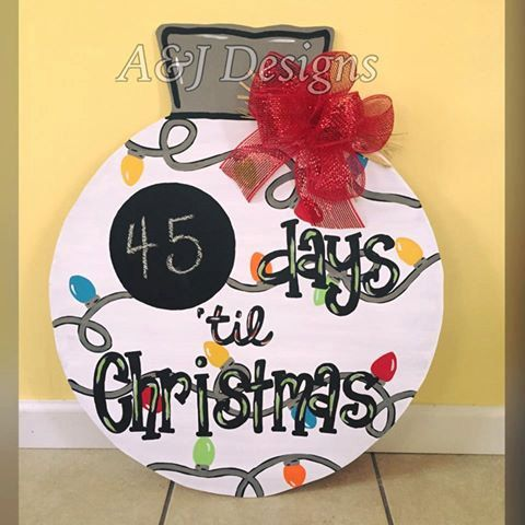 Door Hanger - Wood Cut Out - Christmas Ornament WITH CHALKBOARD.
