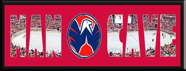 MAN CAVE - Personalized Framed Washington Capitals Team Logo & Verizon Center Stadium Large Panoramic Showing In Background With MANCAVE Letters Cut Out & Team Logo In Center-Framed Awesome & Beautiful-Must For Any Fan!