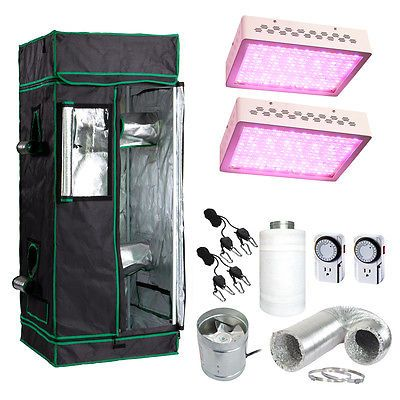 "48x48x80"" Grow Tent Kit with 600w LED Light and Fan + Carbon Filter Combo 4'x4' Was: $459.51 Now: $367.61."