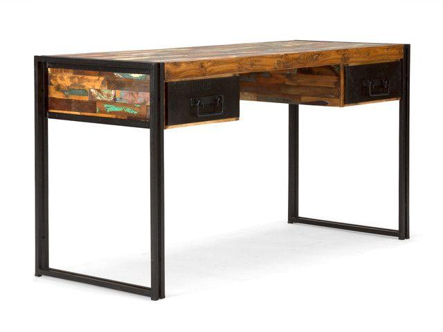 Industrial Massivholz Schreibtisch mit Shabby Style Akzenten - Industrial Möbel  http://moebeldeal.com/industrial-und-shabby/tische/5764/shabby-moebel-schreibtisch-massivholz?c=57