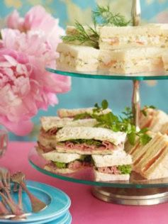 Roast Beef & Watercress Tea Sandwich, Smoked Salmon & Cucumber Sandwich, Prawn & Dill Sandwich recipes