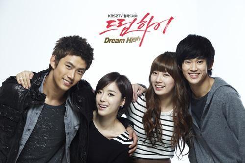 Dream High.  Taecyeon as Jin Gook, Ham Eun Jung as Yoon Baek Hee, Bae Suzy as Go Hye Mi, and Kim Soo Hyun as Song Sam Dong