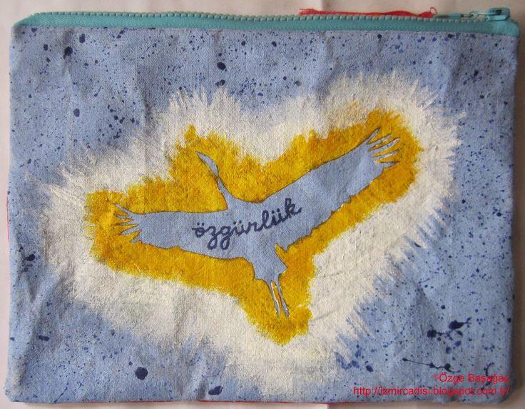 freedom 1 fabric handmade painted art bag/ özgürlük 1 el yapımı boyalı kumaş sanat çanta