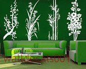 Vinyl Wall Decals Wall Stickers Flower Decals -plum,orchid,bamboo and Chrysanthemum