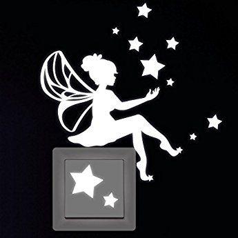 """Wandtattoo Loft Leuchtaufkleber """"Kleine Elfe mit Sternen"""" für Lichtschalter oder Steckdose / Fluoreszierend und im Dunkeln leuchtend"""