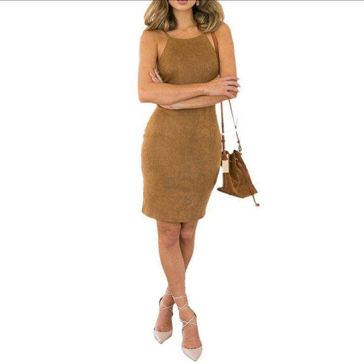 nude#dress#fashion#khakis#suede