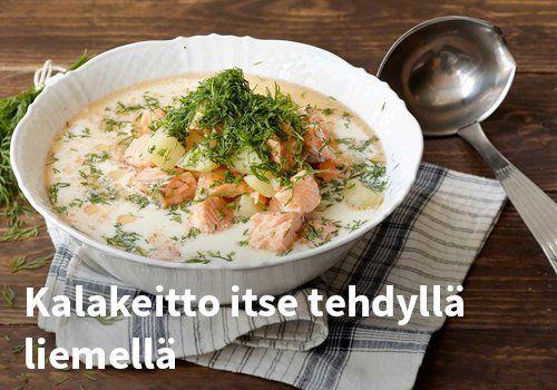 Kalakeitto itse tehdyllä liemellä, Resepti: Valio #kauppahalli24 #resepti #kala #kalakeitto #ruoka #valio