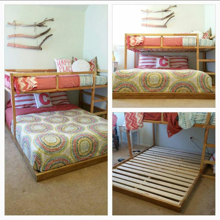 IKEA KURA hack to fit a queen bed below the lofted twin