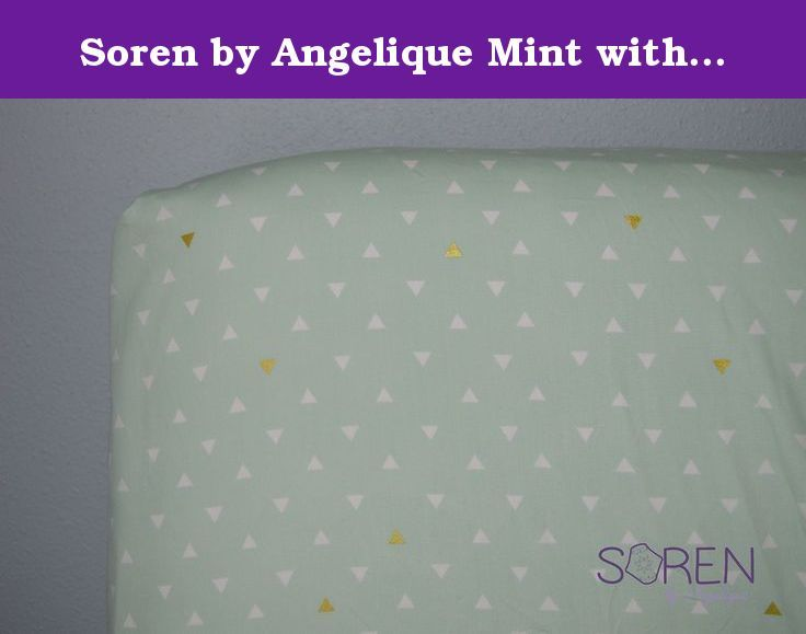 "Soren by Angelique Mint with Gold and White Triangles Crib Sheet. Soren by Angelique Mint with Gold and White Triangles Metallic Crib Sheet. Fitted Crib Sheet, standard size with elastic all the way around. Fits best on 5"" tall crib mattress. Features slightly white and metallic gold triangles on a mint background. Made from high quality, soft cotton fabric."