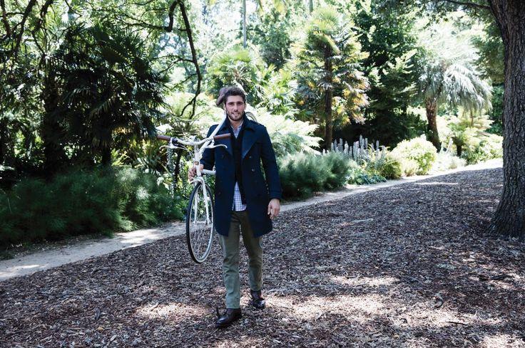 Canto ink coat; Ridge navy cardigan; Tustin blue shirt; Demarit khaki trouser.