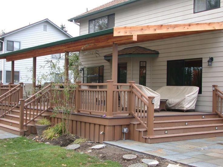 Roofed and sloped pergola. Patio design, Patio, Backyard