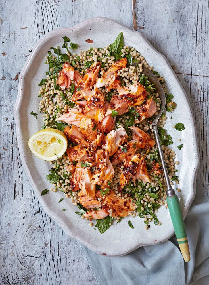 Roast Harissa Salmon with Lemony Giant Couscous // The Happy Foodie
