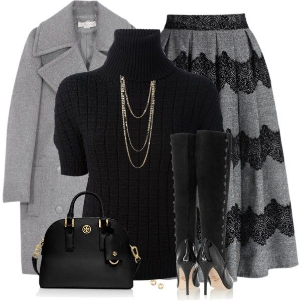 A fashion look from December 2014 featuring black sweater, wool coat and pleated skirt. Browse and shop related looks.