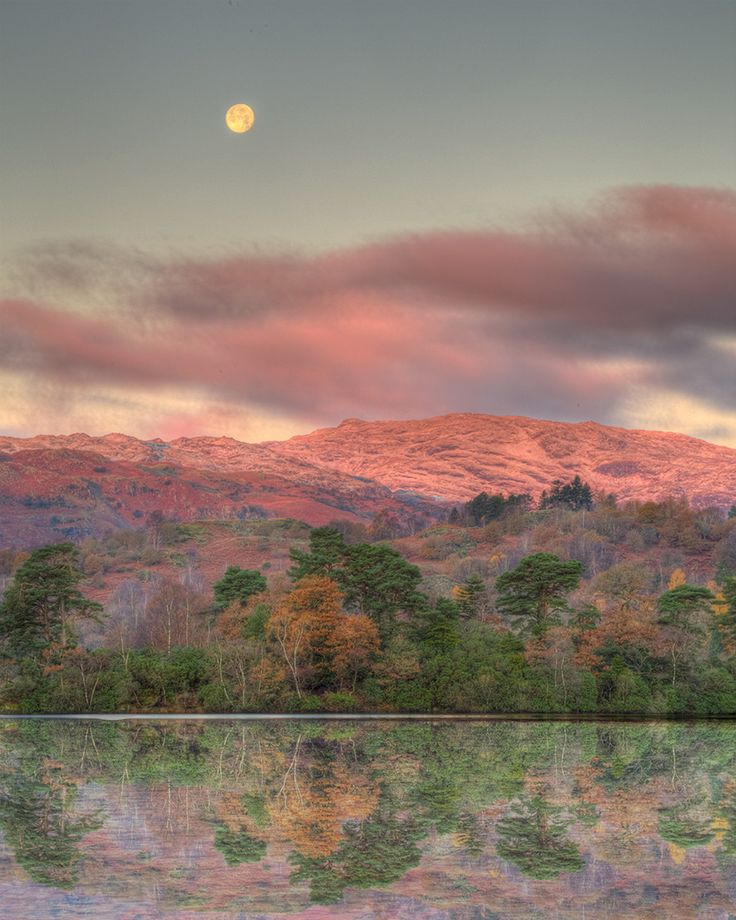 Moon Above Rydal Water