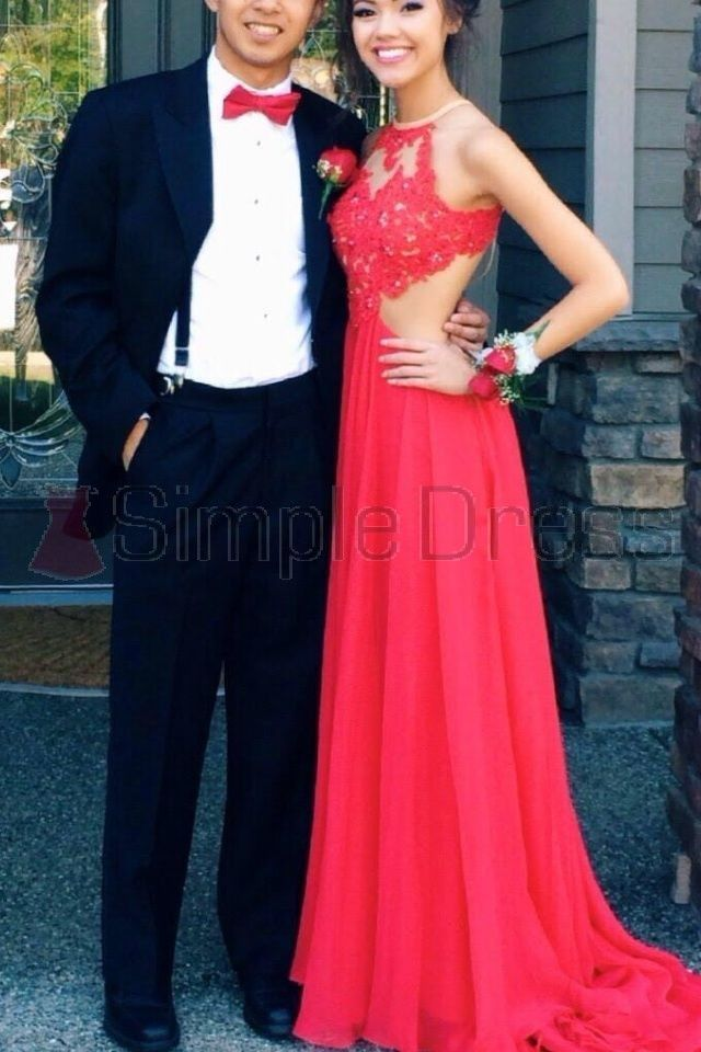 Simple Dresses 2015, Long Scoop Dresses for 2015 Prom Dresses, Sexy Watermelon Chiffon Prom Dresses  CHPD-7048