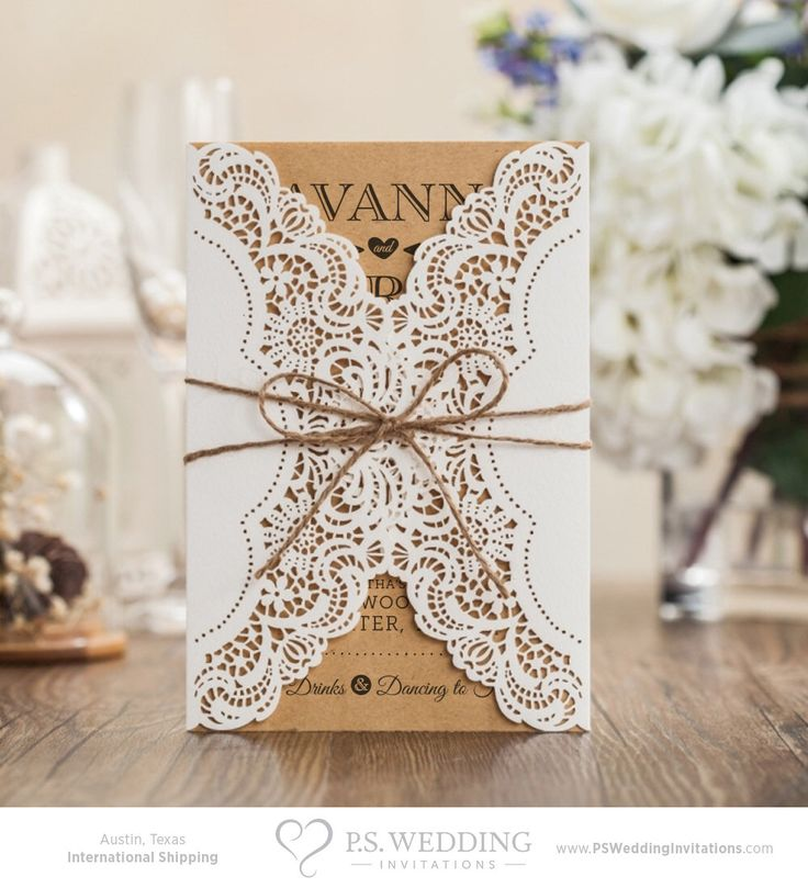 Country Chic Laser Cut Wedding Invitation with Doily & Twine Bow – Lace and Brown Paper – DEPOSIT by PSWeddingInvitations on Etsy https://www.etsy.com/listing/252237437/country-chic-laser-cut-wedding