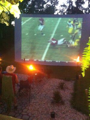 homemade outdoor movie screen.