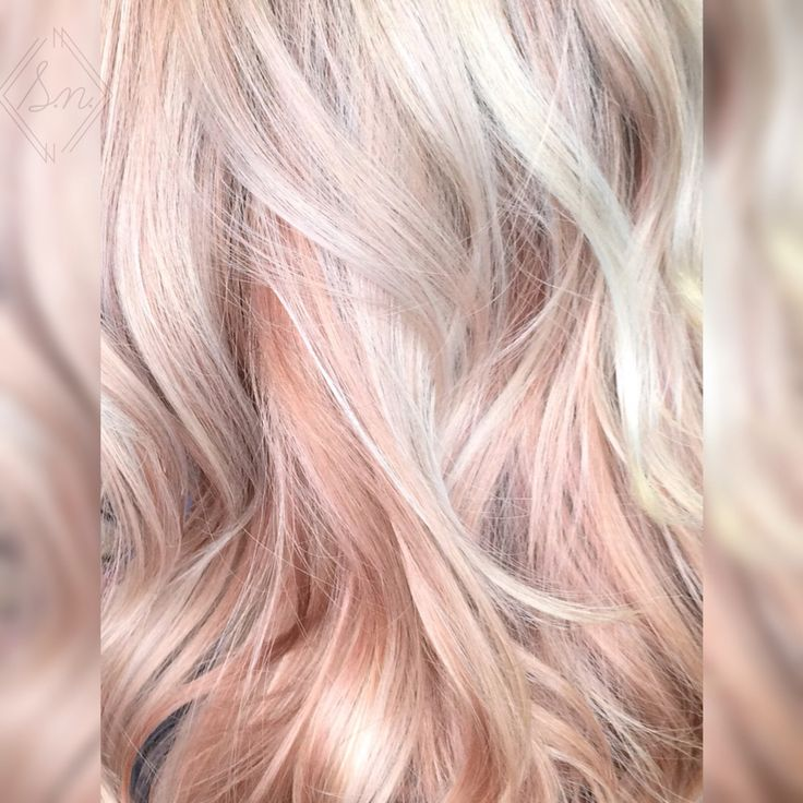 Blonde and pastel pink / rose gold hair color