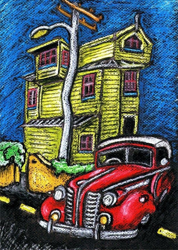 Oil Pastel drawing of an old house in Wellington NZ and a classic car. This was a combination of two photos I took. I have a collection of old house photos and old car photos and I like to mix them up a bit in my drawings #oilpastel #oil #pastel #oldhouse #oldcar #stuaroadtrips #pastels #art #artwork #myart #streetart #streetscene #colour #wellington #nz #newzealand #road #redcar #funky #funkyhouse  #vivid #colourful #bright #drawing