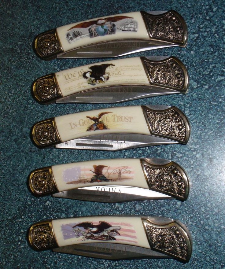 Set Of 5 American Virtues Collectors Knives By Falkner