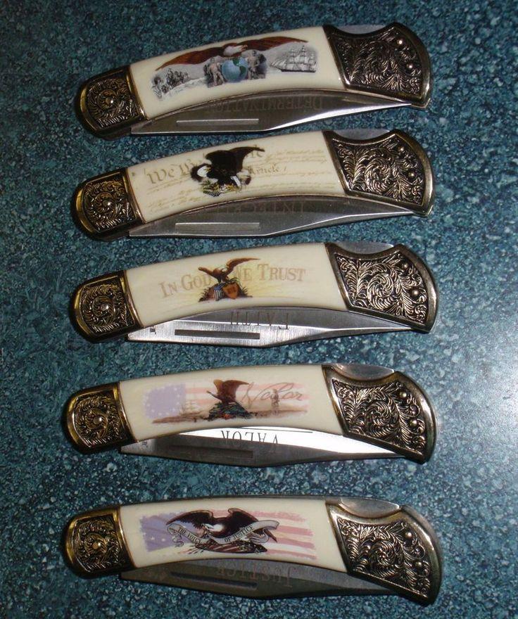 Set of 5 American Virtues Collectors Knives by Falkner Bald Eagles USA GIFT! #FALKNER