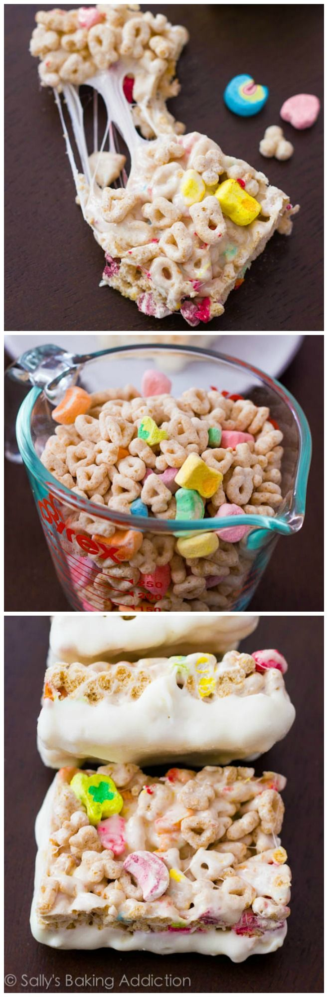 Take a break from traditional rice krispie treats and make these super gooey Lucky Charms Treats instead. And dip them in white chocolate!