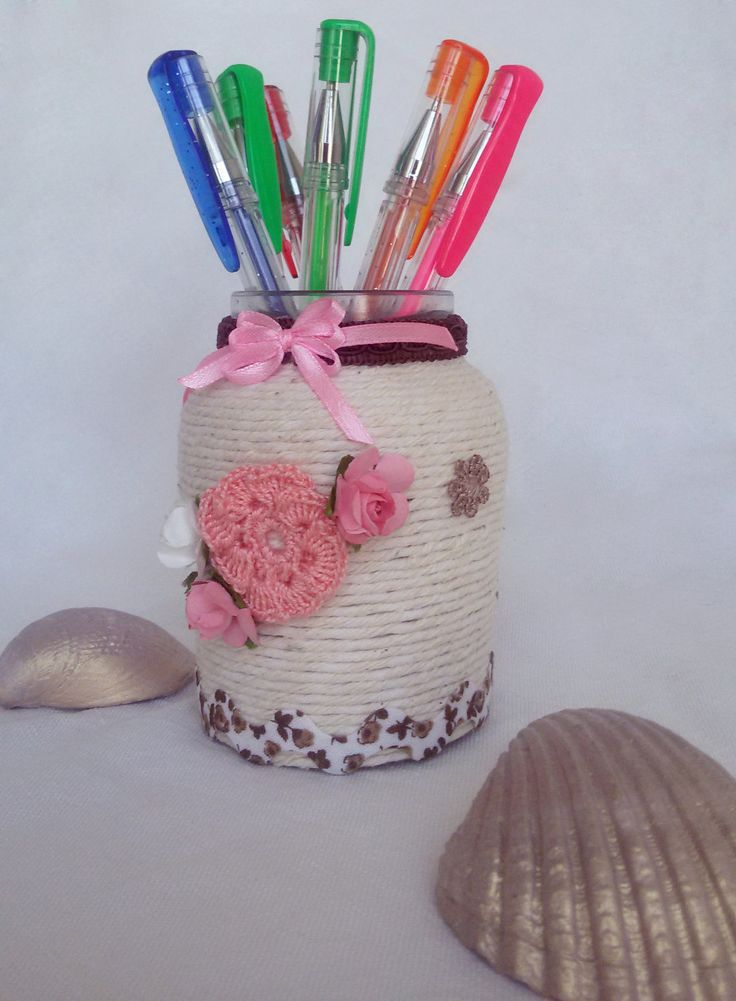 Shabby mason jar covered with lace, beautiful decorated with handmade crochet flowers, paper flowers and lace by Rocreanique
