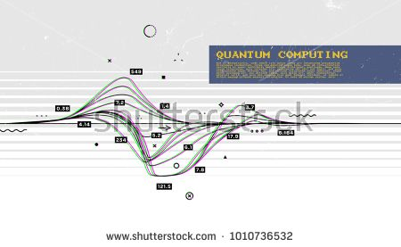 Quantum computing and signal cryptography trendy information technologies infographic vector illustrations. Big data algorithms visualization for business and science presentations, posters and covers