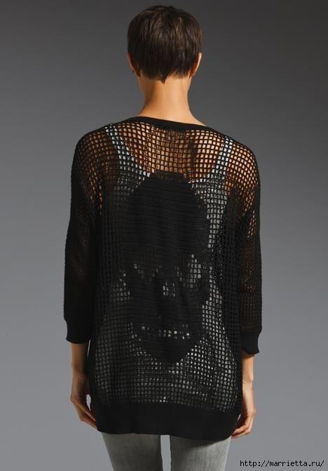 Филейное вязание крючком. Пуловер с черепом (3) (468x671, 86Kb)