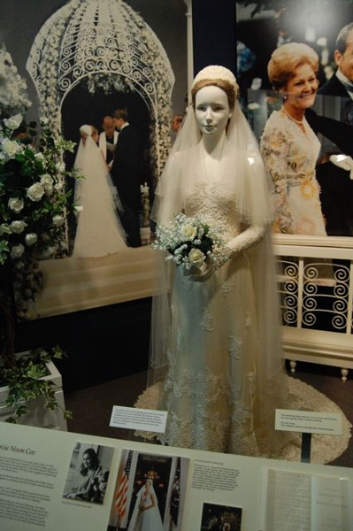 Tricia Nixon Cox wedding gown on display at Nixon Presidential Library in California