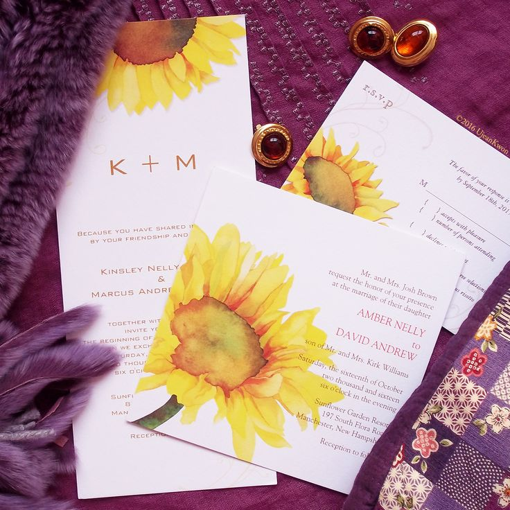 Yellow Watercolor Sunflower Floral Wedding Invitation 56
