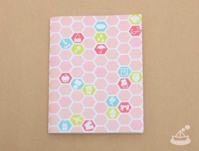 はにかむノート《ピンク》| honey comb pink notebook