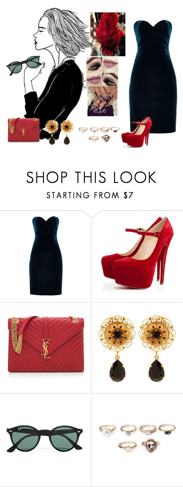 """""""Lovesong #Adele"""" by diane-ds ❤ liked on Polyvore featuring Emilio De La Morena, Christian Louboutin, Yves Saint Laurent, Dolce&Gabbana, Ray-Ban and Forever 21"""