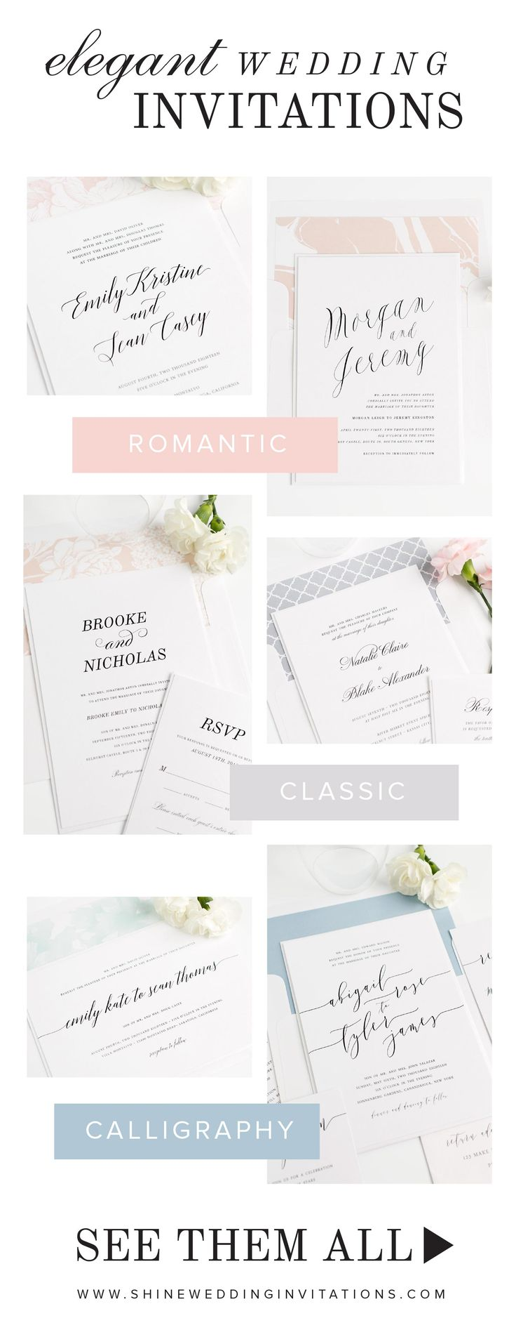 Need wedding invitations?  Click to shop over 100 gorgeous designs for every style of wedding, plus stunning envelope liners that can be personalized in your choice of color and pattern to create the perfect look for your stationery!  Complimentary sample sets available.