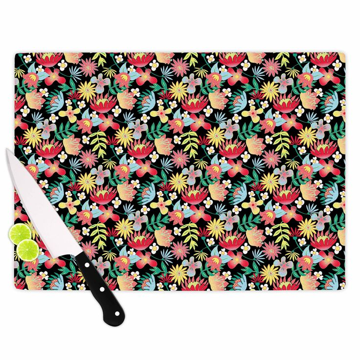 "DLKG Design ""Flower Power"" Gold Black Cutting Board from KESS InHouse"