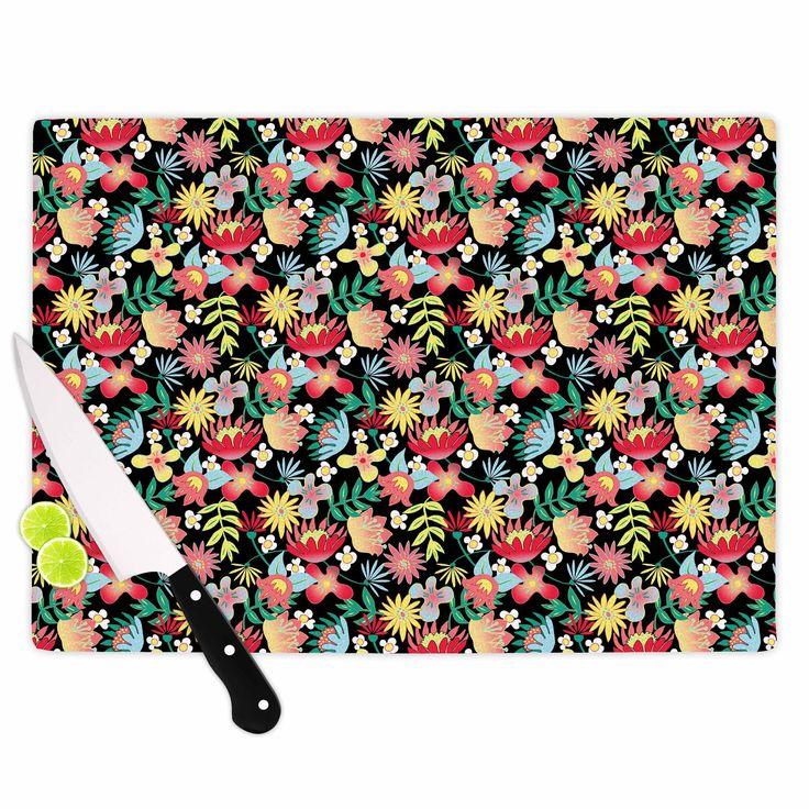 "DLKG Design ""Flower Power"" Gold Black Cutting Board from KESS InHouse"