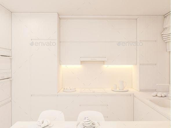 3d Illustration Kitchen Interior Design in White #3dinteriordesign