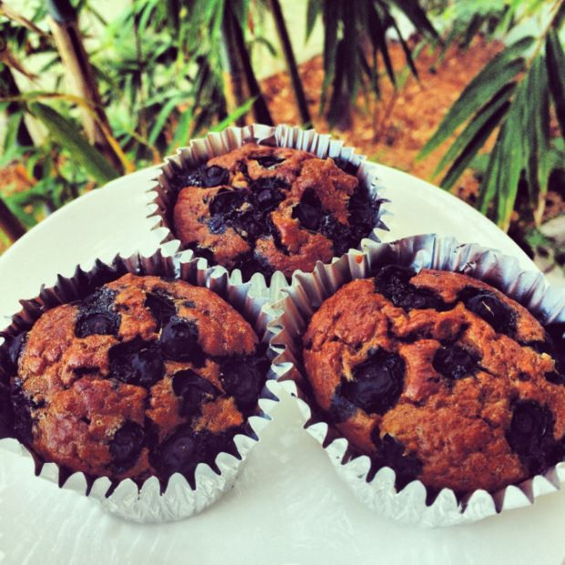 perfectfit-protein-pancake-muffins_hautehealthy Next time use more blueberries and mix them into the batter instead of putting them on top