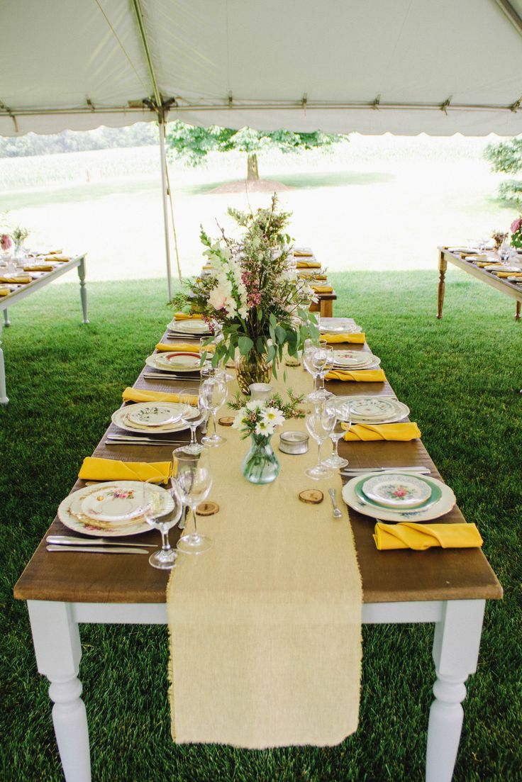 Wedding Design Using Harvest Tables, Vintage China And Burlap Runners  Www.marvelleevents.com
