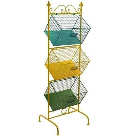 Scaffale con 3 cesti RETRO, metallo, 122 cm: Amazon.it: Casa e cucina
