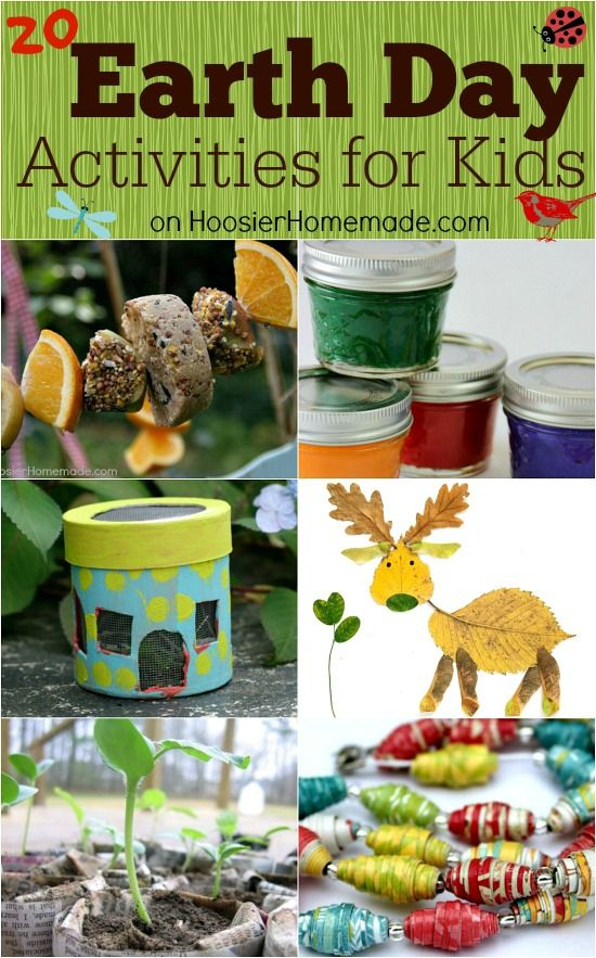 Earth Day Activities for Kids on HoosierHomemade.com...I think these would be good for any day.
