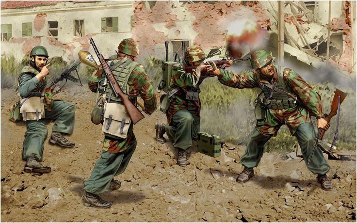 R.S.I. - Paracadutisti italiani ad Anzio 1944. Il parà armato con un Panzerfaust porta in spalla il mitra MAB (Moschetto Automatico Beretta).