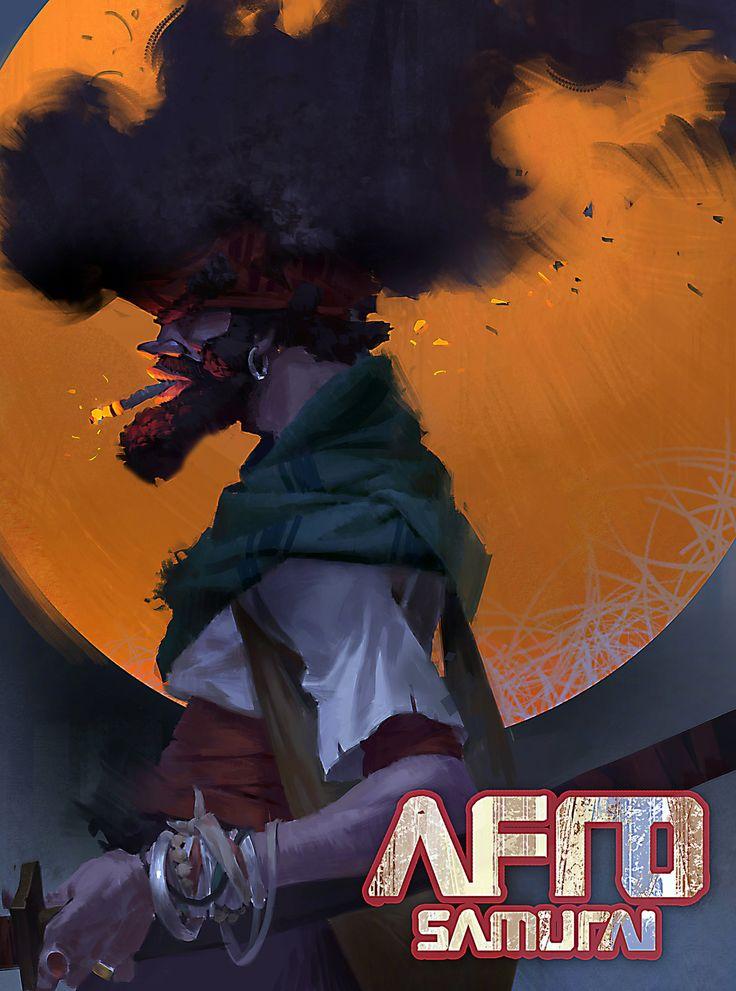 AFRO SAMURAI, Simba tian on ArtStation at https://www.artstation.com/artwork/afro-samurai-05aea0dc-025b-4641-82d2-195f2de579d9